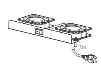 2 Fans Module 220 V AC,  BALL BEARING TYPE, on/off Switch, 2meter Cable