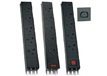 PDU 10Way Vertical Angled Left UK 13A IEC C14 Plug - 3m