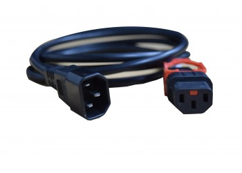 Power Cord IEC Lock PLUS 3x1.0mmsq C13 TO C14 10A 2m Black