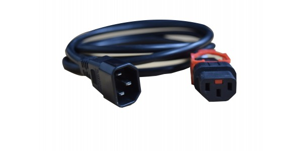 Power Cord IEC Lock PLUS 3x1.0mmsq C13 TO C14 10A 1m Black