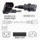 Powercord IEC 60320 C14 Plug Right To C13 10a/250v 18/3-6Ft