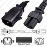 IEC320 C14 Male Plug to C15 Connector P-Lock 3.0mtr / 10ft 15a/250v 14/3 SJT Black