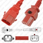 IEC320 C14 Male Plug to C13 Connector Dual-Lock 0.9mtr / 3ft 10a/250v 18/3 SVT Red