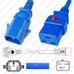 IEC320 C14 Male Plug to C19 Connector Dual-Lock 1.8mtr / 6ft 15a/250v 14/3 SJT Blue