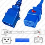 IEC320 C20 Male Plug to C19 Connector Dual-Lock 0.9mtr / 3ft 20a/250v 12/3 SJT Blue