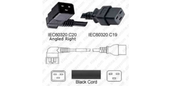 Iron Box Part # IBX-2104-06 12//3 AWG C20 to C19 Power Cord White 6 Foot IEC 60320 20A//250V