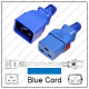 IEC 320 C20 Plug to IEC 320 C19 Connector WS-Lock Blue 4.5Mtr / 15Ft 20a/250v 12/3 SJT