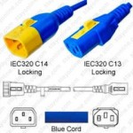 IEC320 C14 Male Plug to C13 Connector V-Lock 0.9mtr / 3ft 10a/250v H05VV-F3G.75 & 18/3 SVT Blue