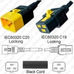 IEC320 C20 Male Plug to C19 Connector V-Lock 0.9mtr / 3ft 16a/250v H05VV-F3G1.5 & 14/3 SJT Black