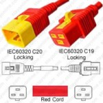 IEC320 C20 Male Plug to C19 Connector V-Lock 1.8mtr / 6ft 16a/250v H05VV-F3G1.5 & 14/3 SJT Red
