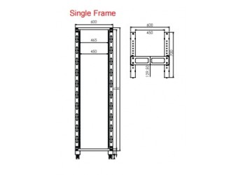 Rack 42U Single Frame 19' Relay & Open - Grey