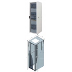 Cabinet 26U 600X600 Perf Front Glass, Rear Perf Door -9005