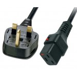 Power Cord IEC Lock 3x1.5mmsq C19-BS1363 13A (UK) 2m -Black