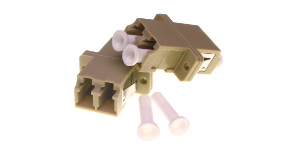 FO Adapter LC-LC Dpx MM Ceramic/Flange - Beige
